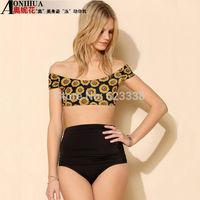 Cheap high waisted print bikinis set biquinis bathing suits vintage floral swimwear push up brand bandage swimsuit