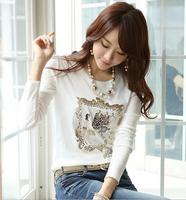 2014 Diamond plus size comfortable high quality cotton T-shirt O neck Long Sleeve casual women t shirt white Free shipping 228