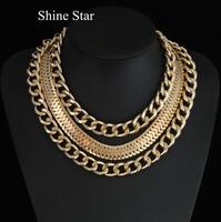 Fashion Women Metal Multilayer Chunky Choker Collar Chain Statement Bib Necklace & Bracelet Jewelry Set For Women Dress C12