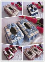 Room Decals Cloth Art Plaid fabric tissue box rustic pumping paper box fashion paper pumping box car