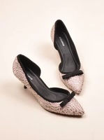 2014 latest sexy lace a bowknot pointed shallow mouth half side sky documentary pumps shoes
