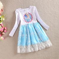 Frozen Elsa Lace Dress 2014 Autumn Long-Sleeve Dress Children Girls Princess Elsa Dress