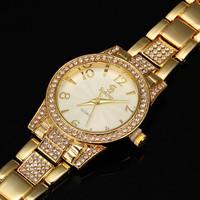 AW-SB-949 18K Gold Luxury Women Stainless Steel Watches Women Full Diamond Rhinestone Watch Bracelet Dress Watches Water Proof