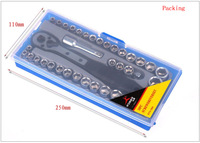 Free Shipping 38pcs/set ratchet wrench sleeve combination tool maintenance suit 1/4 3/8 car repair tools sets