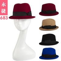 YJG-683 new winter wool Jazz Hat Lady double bow fair maiden wind wool felt hats wholesale