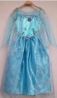 2014 Top Fashion Girls Clothes Meninas Vestir Hotsale Elsa Dresses With Cape Vestido Girls Dress Frozen Yarn Long-sleeve Party