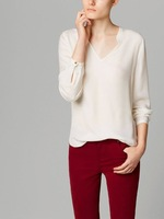 New 2014 Fashion Women's V-Neck Long Sleeve Cotton Blouse Casual Solid Sheer Shirt Za Brand Tops 14081305