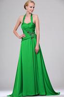 2014 Fashion A Line Taffeta Green Sequined Halter Evening Dresses Formal Dress