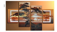 hand-painted wall art elegant Mountain forest sunrise home decoration abstract Landscape oil painting on canvas 4pcs/set framed