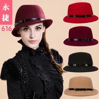 YJG-616 Vintage bow spring and autumn winter wool hat Fedora hats children jazz hat