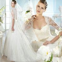 DIS 2014 Newest Lace Wedding Dresses With Jacket size 4 6 8 10 12 14 2015 vestidos de novia Factory Retail Bridal Gown D-8082