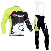 New 2014 cycling jersey full zipper / cycling clothing men women Long Sleeve+Bib long Pants Bike Clothes Breathable S-3XL