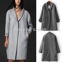 2014 New Trendy Women's Winter Chic Women Lapel A-line Gray Wool & Blends Jacket Coat Outerwear Tops
