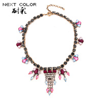 Pendant Necklace Top Fashion Vintage Zinc Free Shipping 2014 New Women Necklace Crystal Sweater Chain Tassel Jewelry Wild