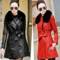 Women's clothing 2014 autumn and winter slim long jacket large fur collar winter coat women leather coat plus size women coats