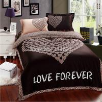 Home textile,100% cotton Classic Wedding 4pcs bedsheet duvet reactive printing Leopard grain Love bedding set,King queen size,