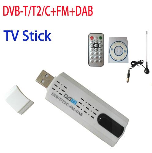 Digital satellite DVB t2 usb tv stick Tuner with antenna Remote HD TV Receiver for DVB-T2/DVB-C/FM/DAB,Wholesale Free Shipping(China (Mainland))