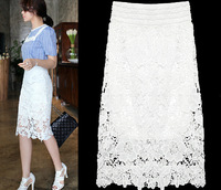 Fashion Womens Sex Crochet Lace Long Floral Embroidery Skirt Daisy Hollowed out Skirt
