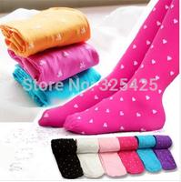 Wholesale 5pcs/lot child pantyhose velvet candy color small heart multicolour children's pants cute tights for kids select color
