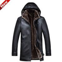 HOT!! Winter warm long men  Leather jacket Detachable hood Men's Casual outwear fur lining men's Fur coat