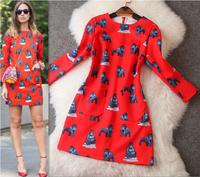 2014 New Fashion Desigual Space Cotton Women Dress Casual Orangutan Printing Slim Dress Celebrity Dresses Queen Temperament 2074