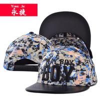 Korean embroidery letter BOY color bark eaves graffiti flat hat  sunshade hat