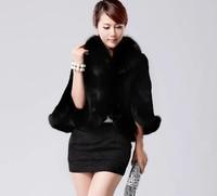 Free shipping 2014 winter women's  coat super faux fox fur collar rabbit fur vest fur coat
