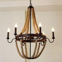 E14 6-light Retro American country Chandelier   Living Room restaurant lights Retro rustic traditional rope chandelier75*75*73cm