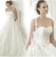 DIS 2015 High Quality Newest Sale V-neck Lace Wedding Dresses vestidos de novia Factory Retail Bridal Gown D-8090
