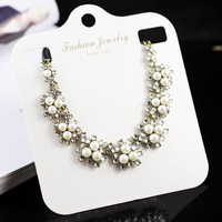 Wholesale Fashion Rhinestone Pearl Necklace Female Short Design Statement Necklaces & Pendants Fashion Jewelry For Woman XLBH289