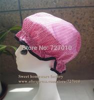 Pink DOT Satin &EVA double layer waterproof shower cap&Treatment with cap &present