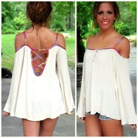 2014 Hot Sell Women Summer White Tops Blouse  Women Sling Blouses