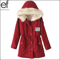 Lanluu 2014 Women's Fashion Fur Hooded Fleece Inside Military Casual Winter Coat Colorful Outerwear SQ808