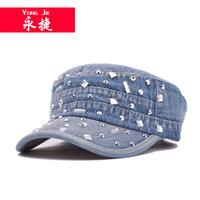 F126 Korean paste diamond do old cowboy flat Hat    Lady summer outdoor sunshade cap  wholesale hats