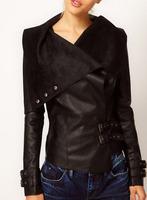 2014 Autumn New Women Lapel Handsome Motorcycle Leather Jacket Women Short Paragraph Slim Lady Pu Leather Jacket