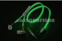 High Quality Stereo Luminous  Metal Zipper Earphones Bass Headset Headphones with Mic 3.5mm for iPhone 5 Samsung