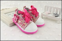New cute Baby girls shoes  babys prewalker flowers shoes Infant Toddler lace shoes casual canvas shoes Free shipping