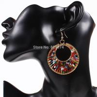[Free Style]  2014 New Hot Sale Vintage Drop Earrings Jewelry Multicolour Big Round Drop Earrings For Women Fashion Accessory