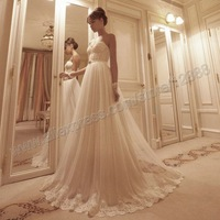 Free Shipping-Beautiful White Tulle Lace Sweetheart A Line Best Selling Russian Wedding Bridal Dresses 2014