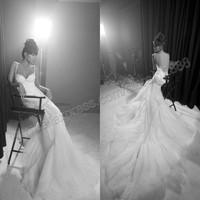 Free Shipping-White Tulle Organza Spaghetti Straps Long Train Wedding Dress 2014 Mermaid Wedding Gown