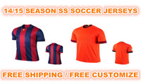 CUSTOMIZE 14/15 blue/orange ss best quality fans version soccer football jersey, Embroidery logo, size:s/m/l/xl