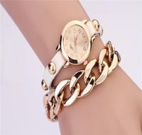 Fashion casual latest retro bracelet with gold plated big bracelet chain rivet ladies watch women's Dress Watches Wristwatches