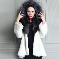 2014 winter fur hood jacket long coat women fashion mink coat fur coat