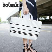 Fashion one shoulder big bags 2014 women's handbag stripe color block super large vintage bag