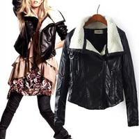 New 2014 Winter Women Jacket Coat Parkas Leather Wool Slim Turtleneck Zipper Jackets Coats Brand Design Clothing