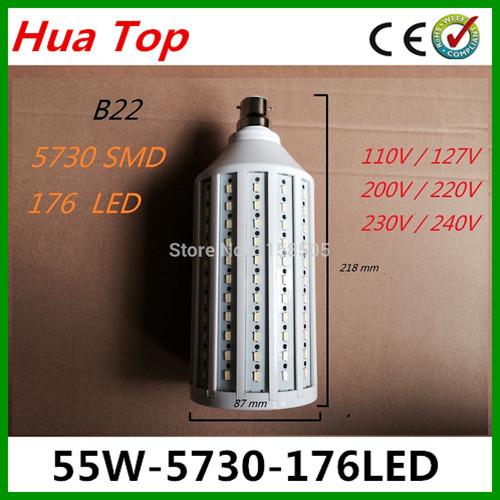 5pcs/lot Lampada 55W 176 LED Led lamp E27 E40 B22 Suitable Voltage 110v/220V Epistar smd 5730 Corn Light Bulb Led Bulbs&Tubes(China (Mainland))