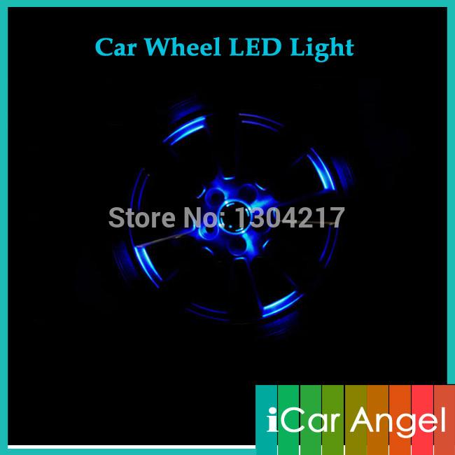 2PCs/lot Solar Power Wheel LED Light Center Cap Car Neon Hub SolarPower Lamp Decorative Lightings for Lada Solaris Polo etc(China (Mainland))