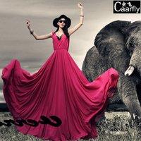 2014 sleeveless chiffon V-neck big bottom type slim plus size clothing mopping the floor dress full one-piece dress