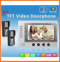 2014 new 7 inch TFT Monitor LCD Color Video Record Door Phone DoorBell Intercom System with 750TVL IR door camera