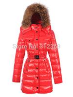 Warm Fur Collar Long Women Down Coat  Hooded Snow Winter Jacket Women Down Jacket Black Red Brand Ladies Down Parka Winter Coat